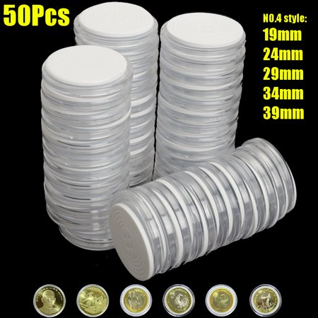 50Pcs Coin Capsules Round Plastic Coin Holder Case Storage Organizer for Coin Collection Supplies,Suit for 19 24 29 34 39mm Coins