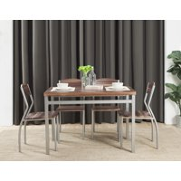 Abington Lane Modern 5-Piece Dining Table Set with 4 Chairs, Cedarwood Finish