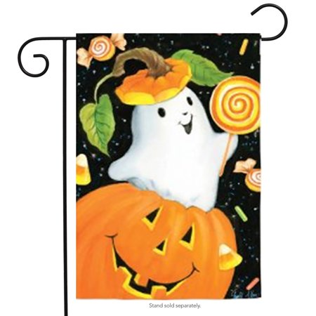 Spooky Pumpkin Halloween Garden Flag Ghost Candy Lollipops 12.5