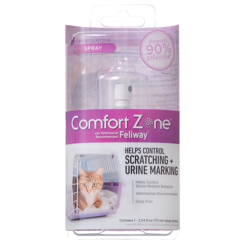 Comfort Zone with Feliway Spray for Cats 1 Pack - (75 Milliliter/2.54 Ounce)