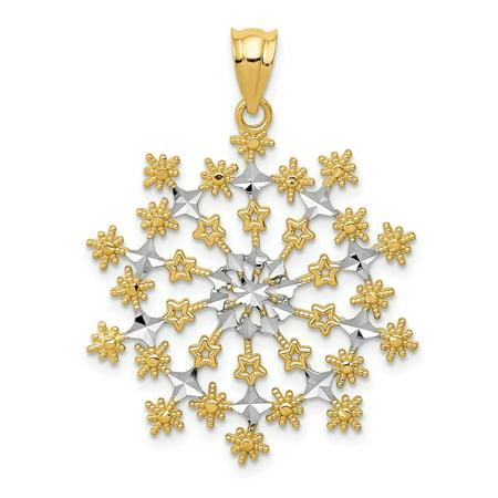 Yellow Gold Starburst - Solid 14k Yellow and White Gold Two Tone Diamond-Cut Starburst Snowflake Pendant (26mm x 33mm)