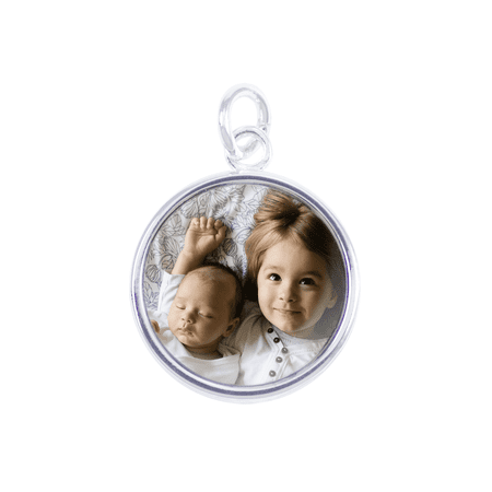 Sterling Silver Plated Round Photo Pendant