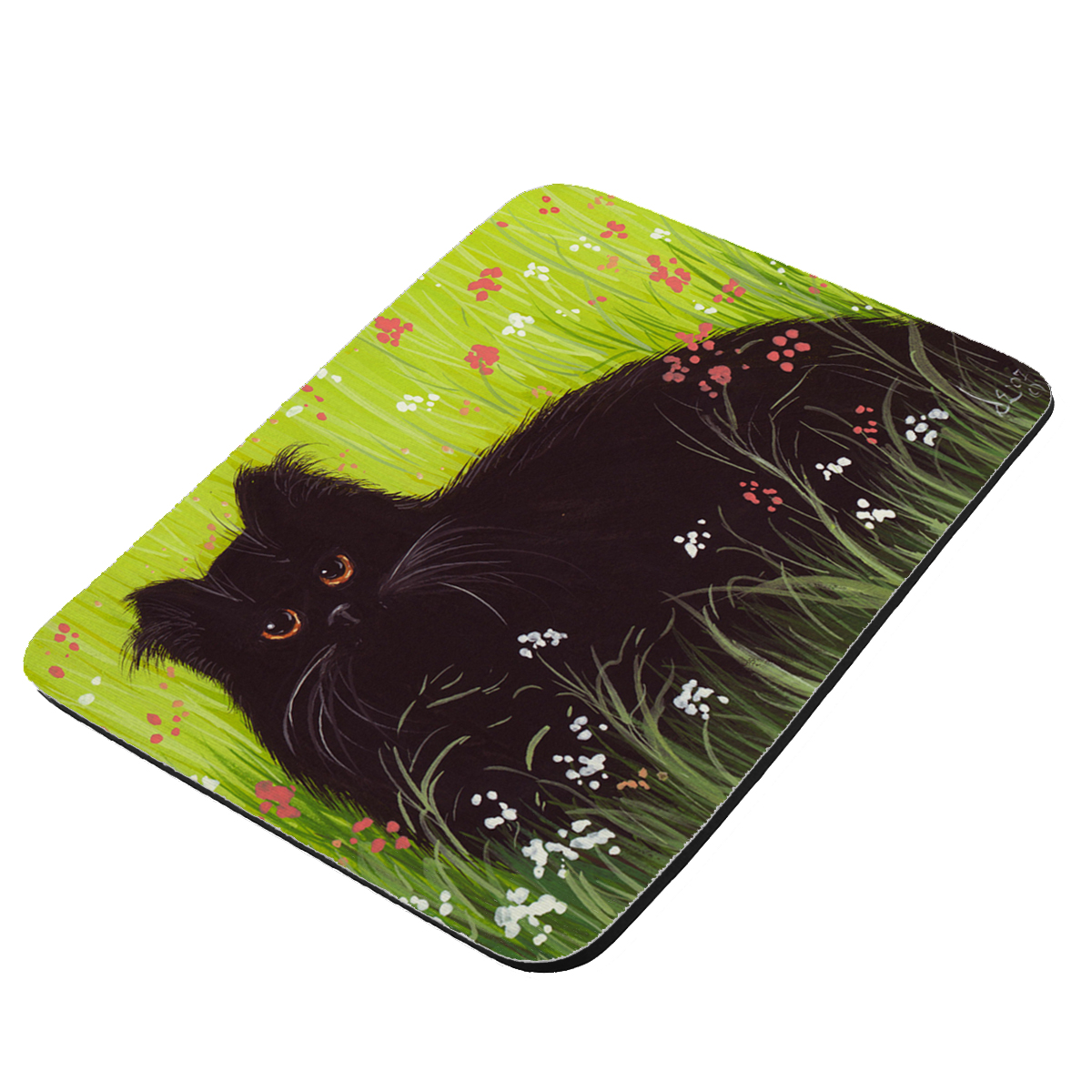 Black Persian Cat Art by Denise Every - KuzmarK Mousepad / Hot Pad / Trivet