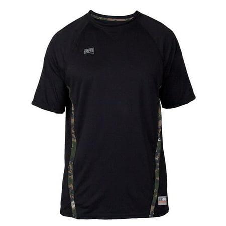 6827MP0ZESML Adult Raglan Shorts Sleeve Tee, Black & Digital Marines - (Adult Raglan Tee)