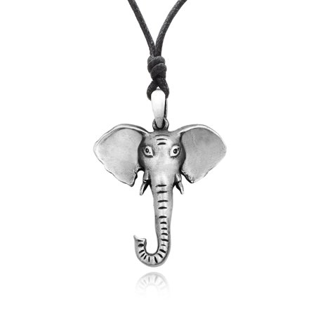 Elephant Head Ganesh Indian God Silver Pewter Charm Necklace Pendant Jewelry With Cotton Cord