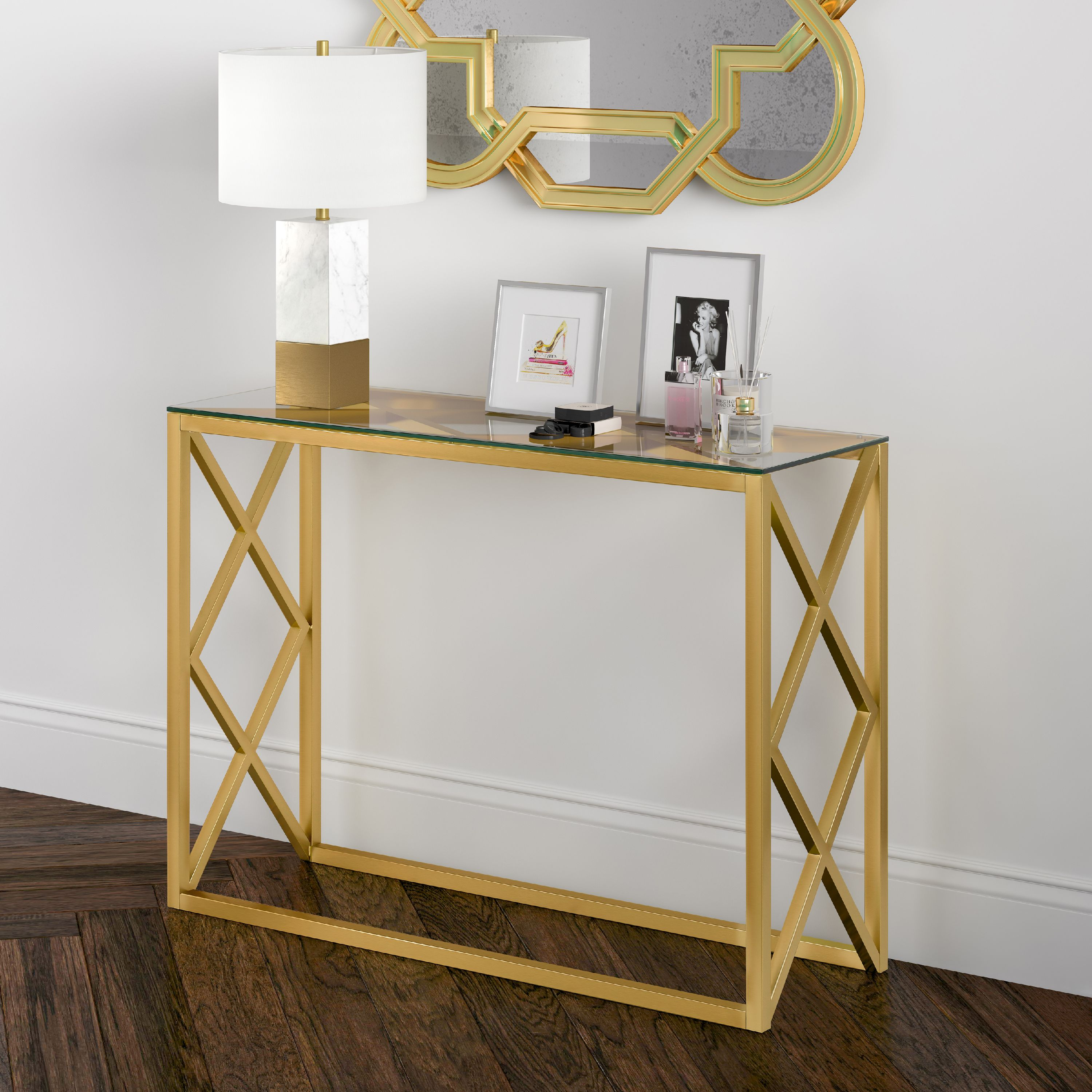 Mid Century Modern Glass Entryway Table Rectangle Accent Table Console Table In Blackened Bronze Or Brass Finish For Living Room Hallway Sofa Table 30 50 H X 42 L X 14 W Walmart Com