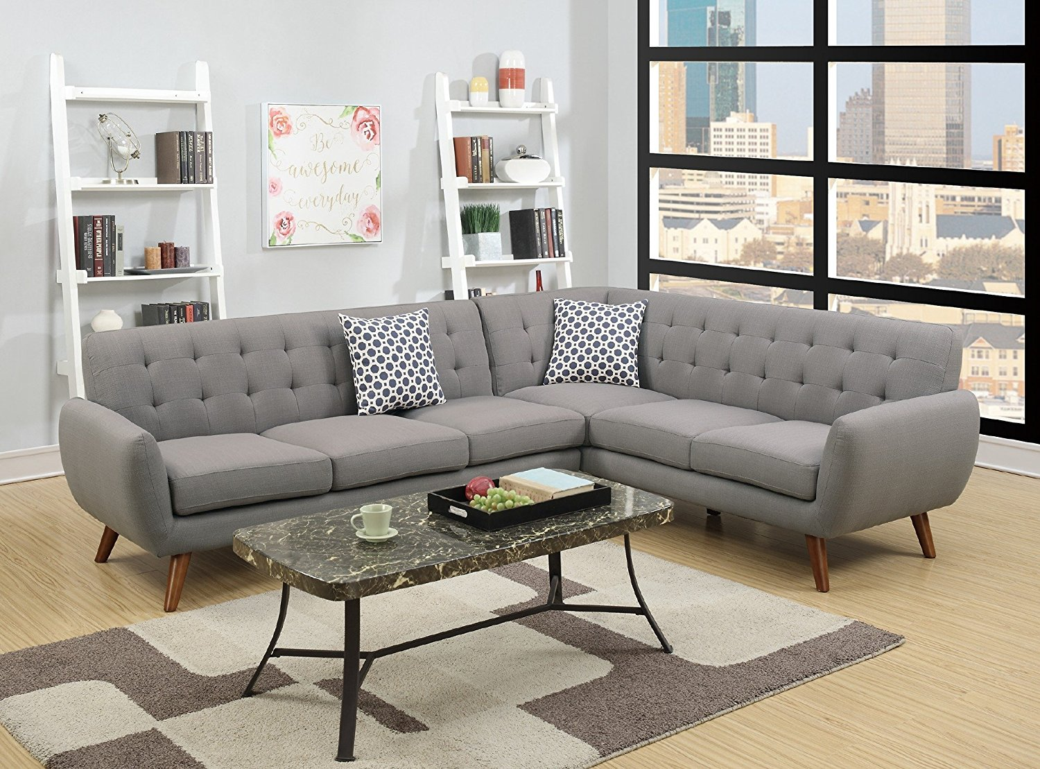 2Pcs Modern Grey Polyfiber Linen-Like Fabric Sectional Sofa Set with Clean Lines and Curves and Accent Tufted Back... by