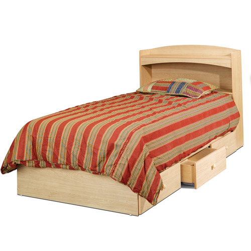 Alegria Twin Bed and Bookcase Headboard, Natural Maple