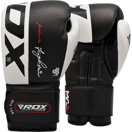 RDX Leather S4 Boxing Gloves Training Mitts Black