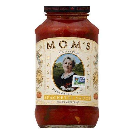 Moms Fresh Garlic & Basil Spaghetti Sauce, 24 OZ (Pack of 6)