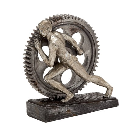 Reed & Barton Silver Sculpture (Decmode Industrial 8 Inch Man Pushing A Gear Resin Sculpture,)