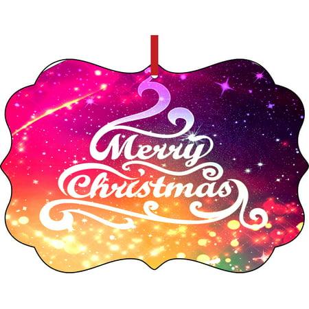 Merry Christmas Typographical Christmas Tree Design Elegant Semigloss Aluminum Christmas Ornament Tree Decoration - Unique Modern Novelty Tree Décor Favors