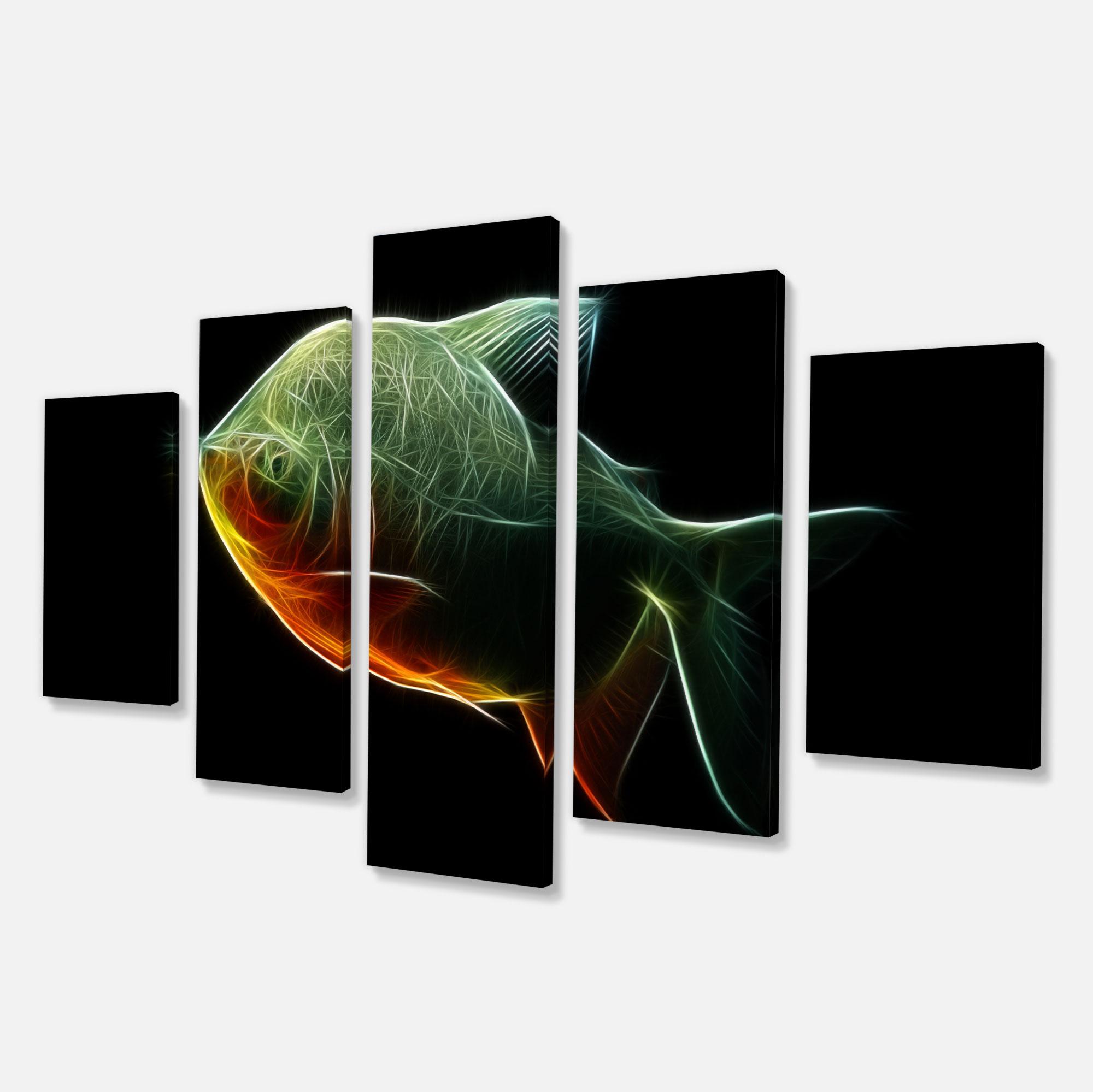 Fractal Pacu Fish on Black - Large Animal Canvas Artwork - image 3 de 3