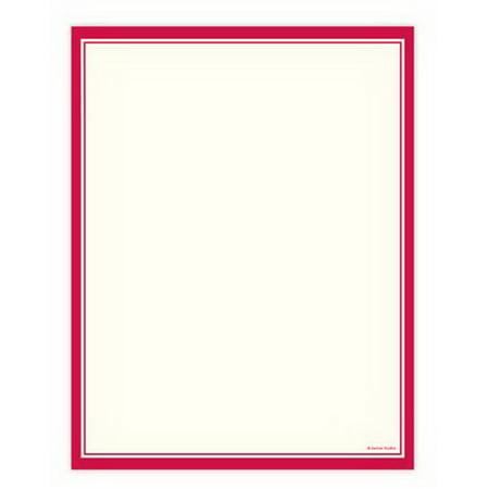 Border Letterhead Paper - Red Border Letterhead - 100 Sheets