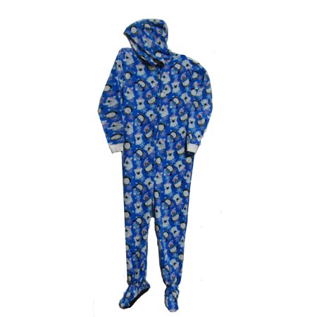 Pajama Fun Prints Hooded Footed One Piece Pajamas- Penguins & Polar Bears
