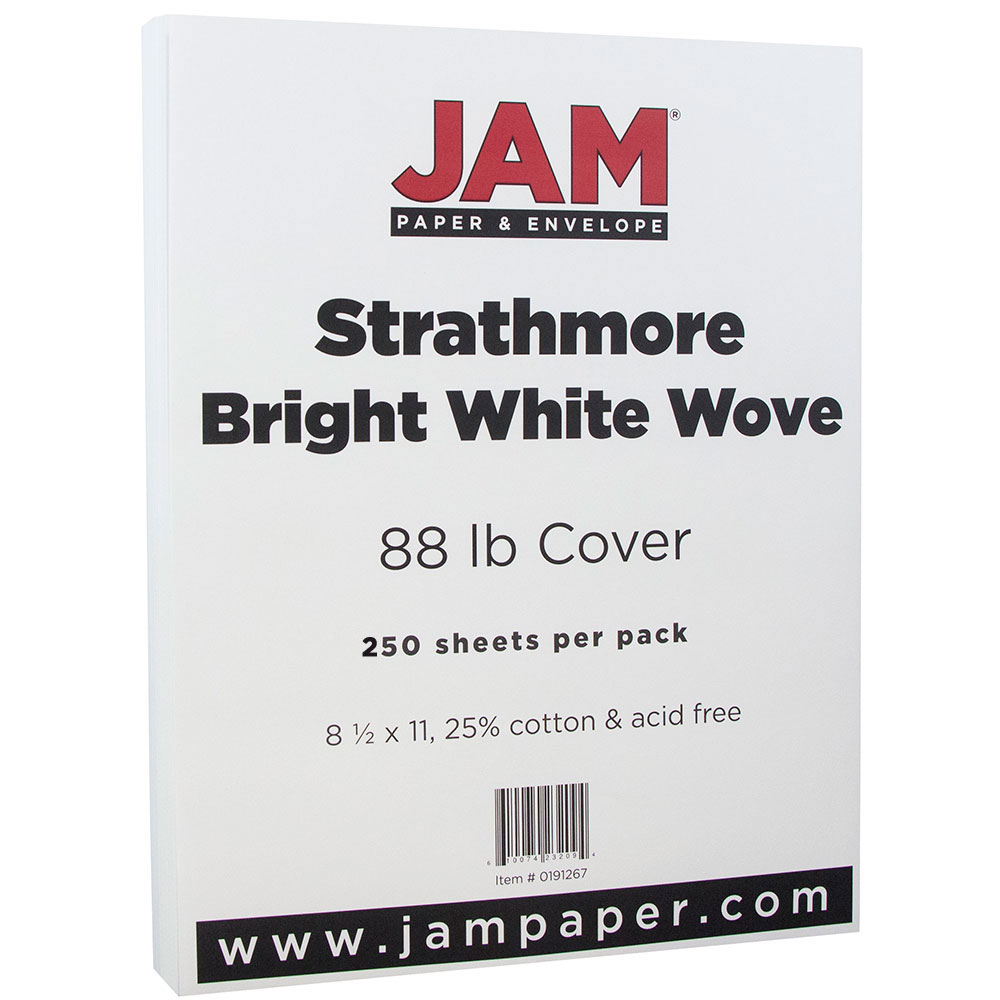 JAM Paper Strathmore Cardstock, 8.5 x 11, 88lb Bright White Wove, 250 Sheets/pack