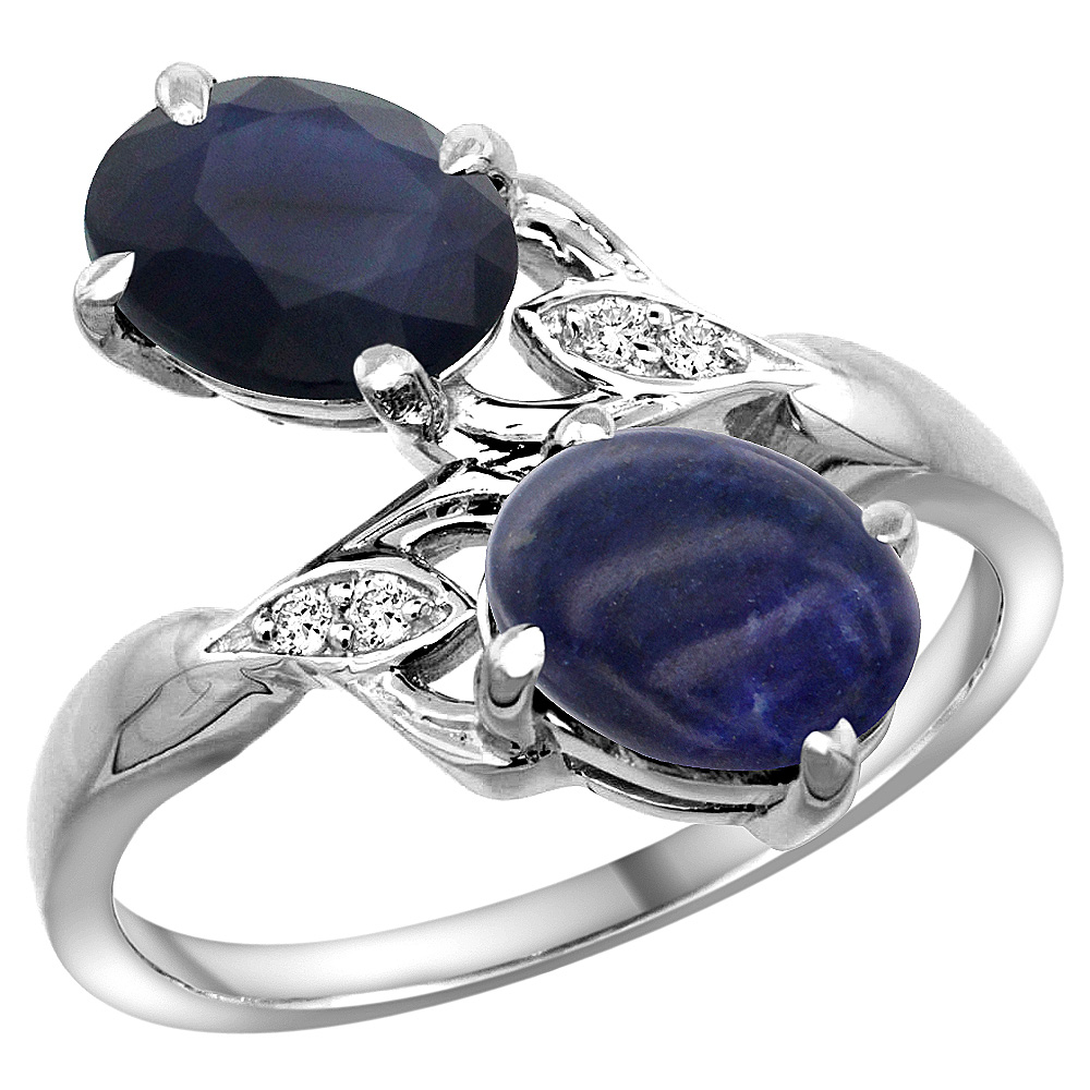 10K White Gold Diamond Natural Australian Sapphire & Lapis 2-stone Ring Oval 8x6mm, sizes 5 - 10