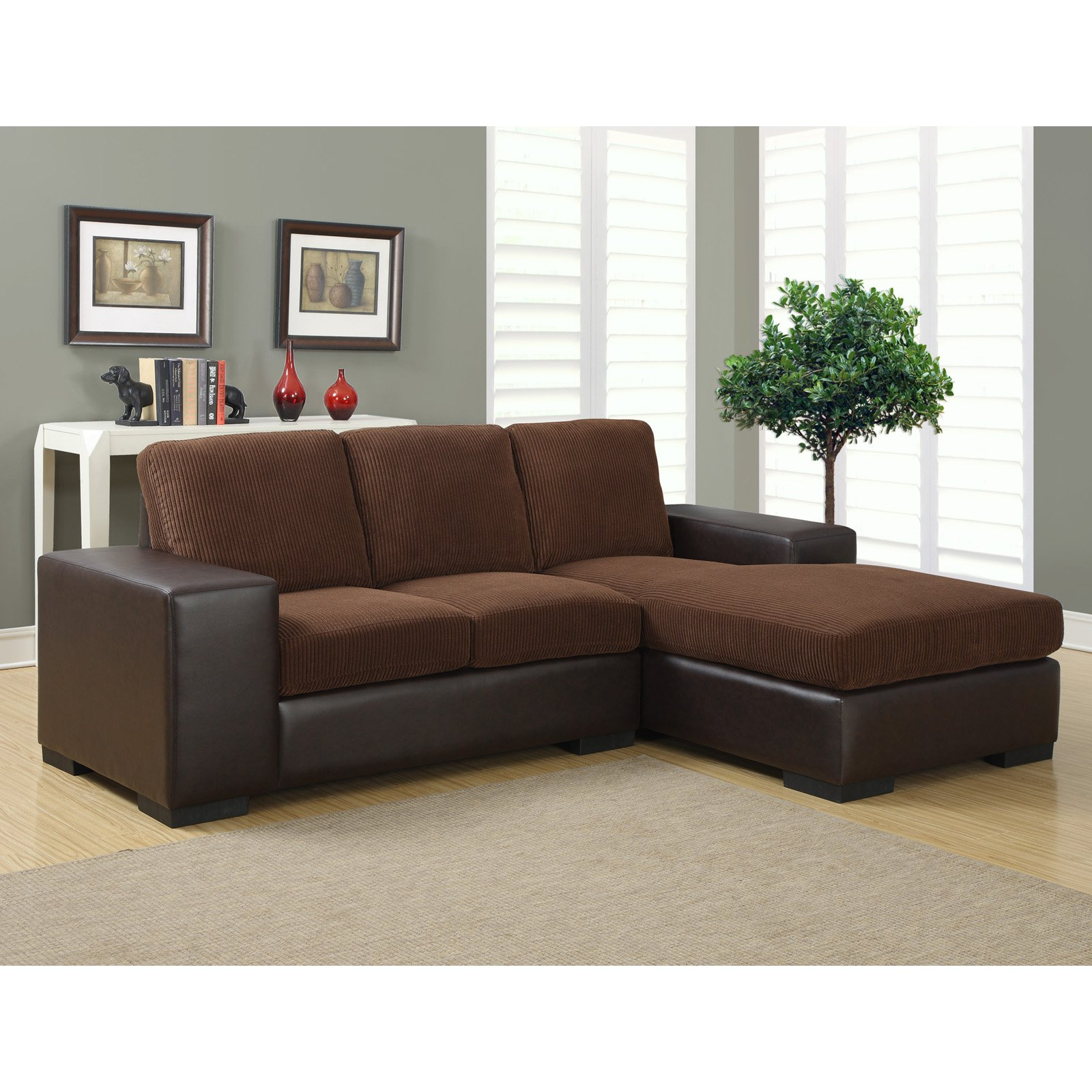 Monarch Specialties Sheffield Leather and Fabric Sofa Lounger