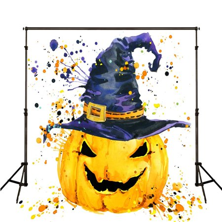 GreenDecor Polyester Fabric Halloween Photography Backdrop 5x7ft Large Yellow Pumpkin Deep Blue Witch Hat Photography Background Kids Party Photo Banner](Large Halloween Desktop Backgrounds)