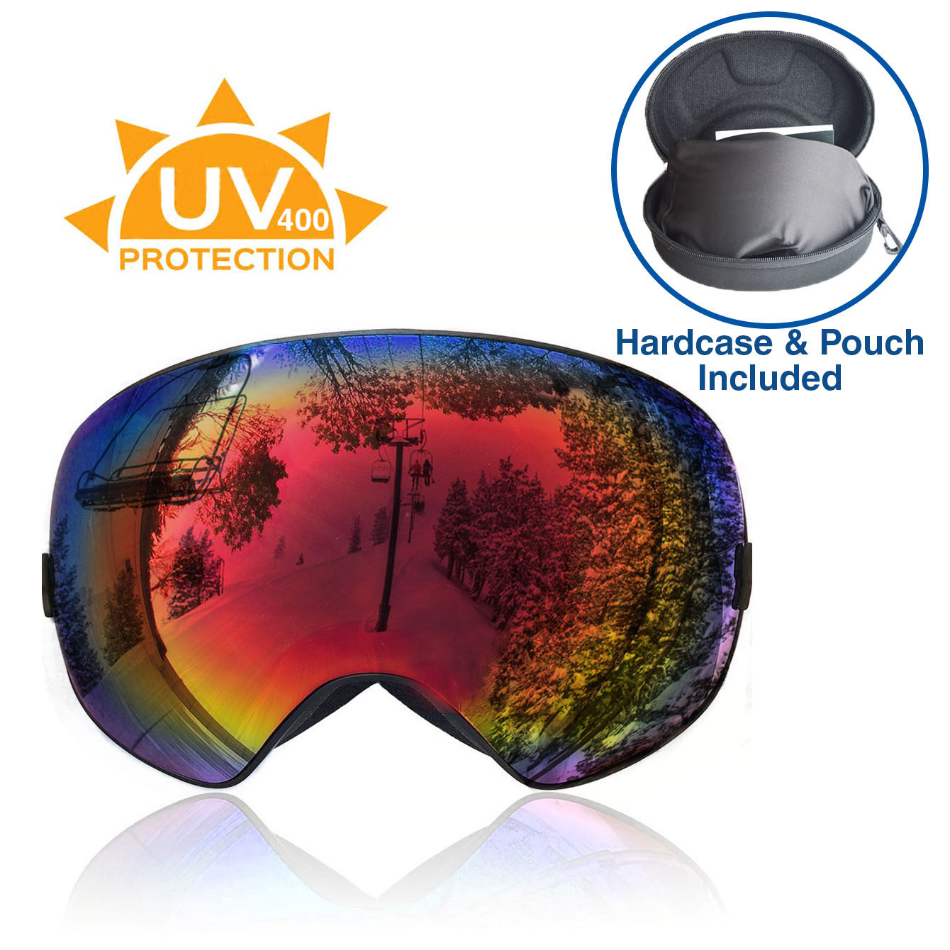 Xspec UV400 Snowboard Ski Snow Goggles w  Detachable Mirror Lens & Case, Red Anti Fog by Xspec
