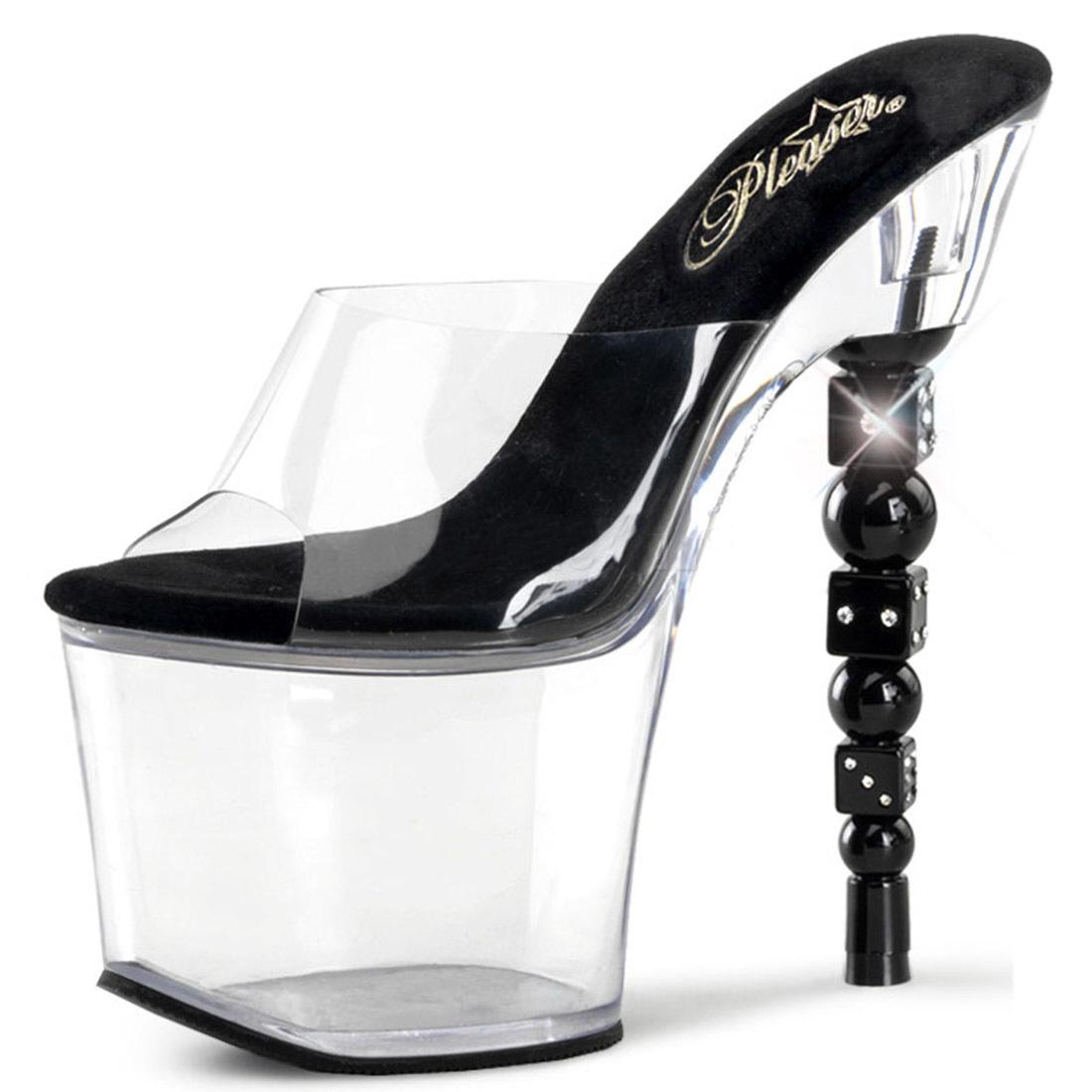 Clear Platform Slide Sandals with Black Dice Shaped 7 Inch Heels