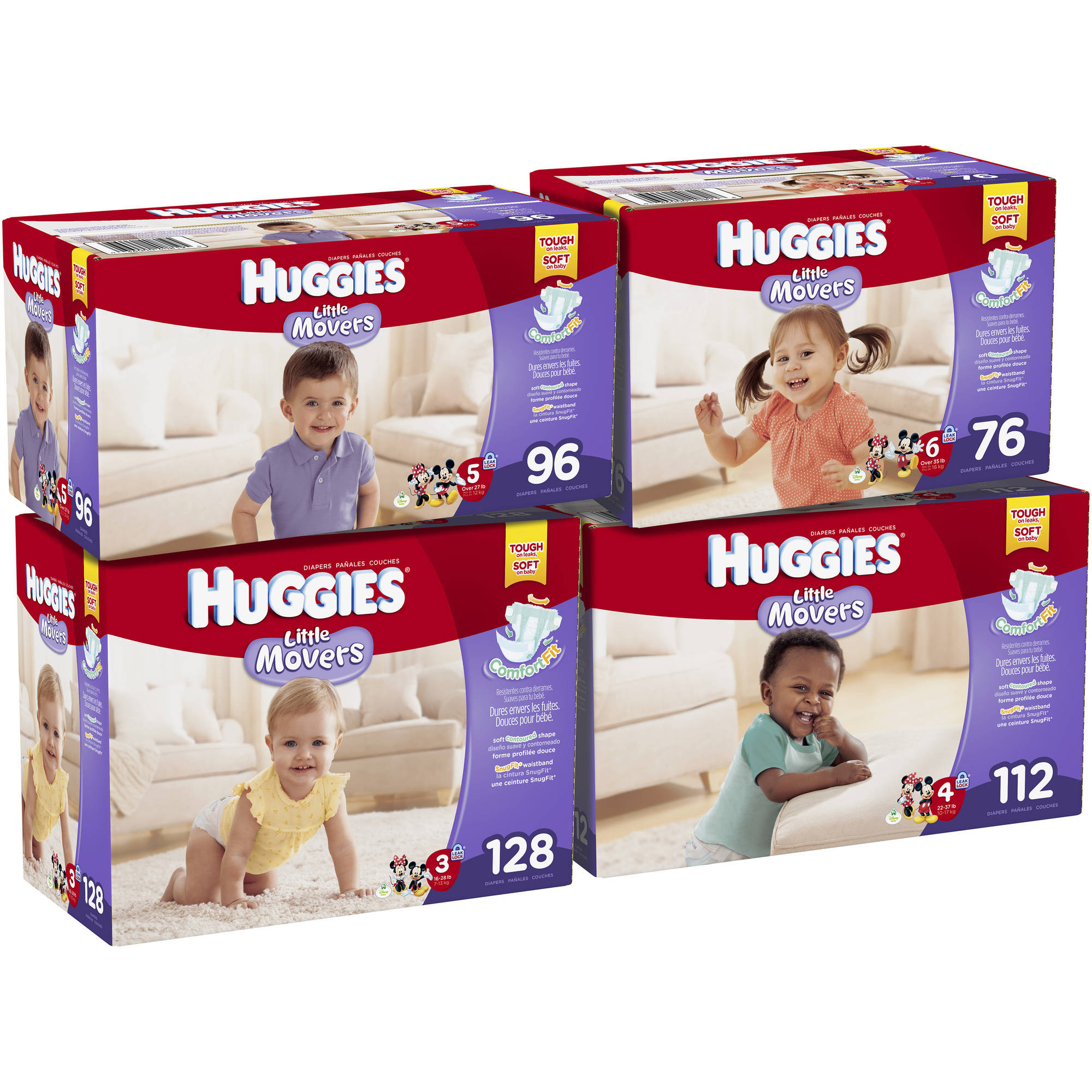 HUGGIES Little Movers Diapers, Giant Pack, (Choose Your Size)