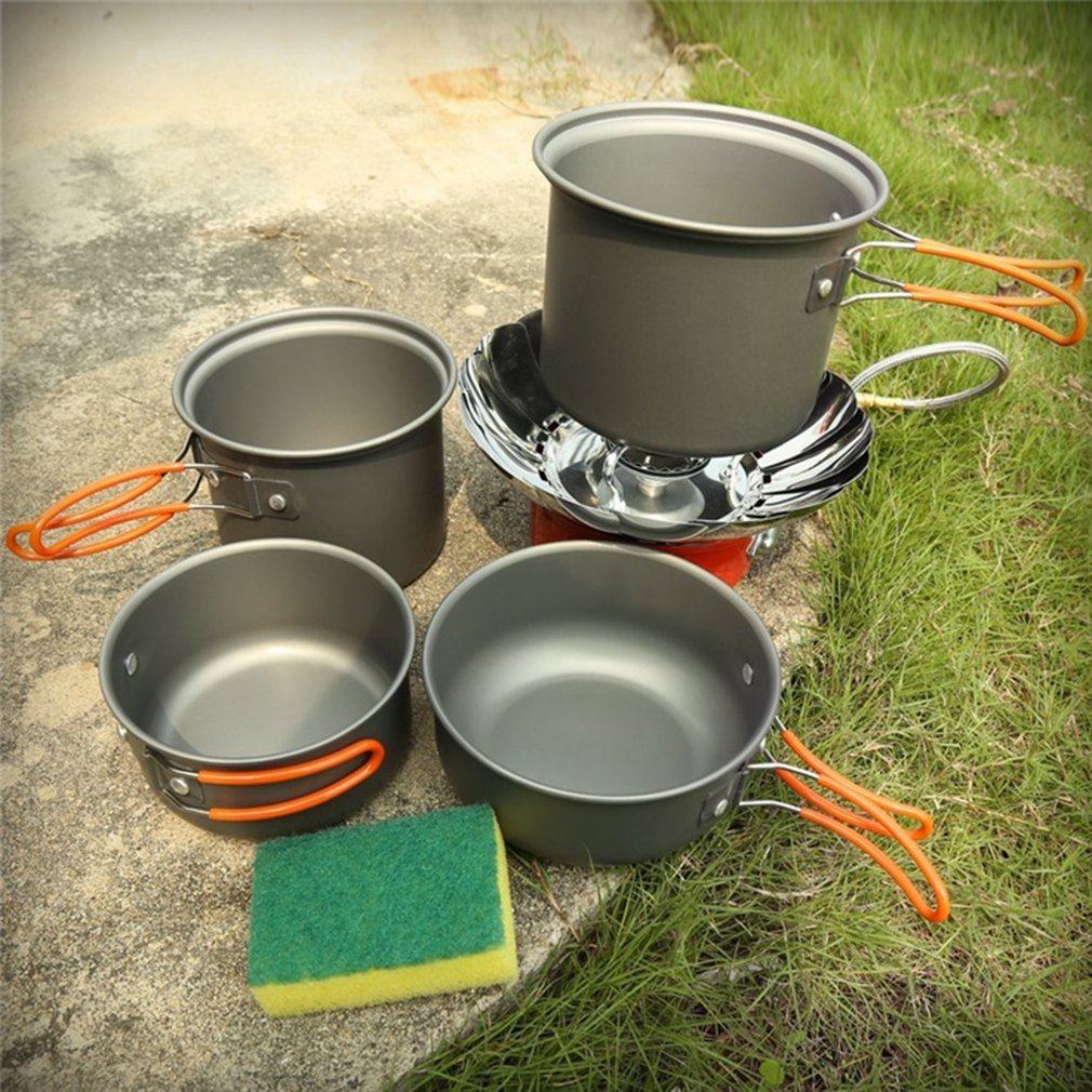 Four-piece Outdoor Camping Set 1-2 Walking Tableware Outdoor Combination Pot @L