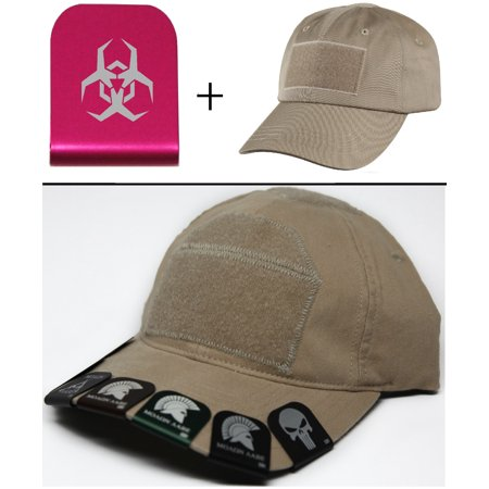 Malware Toxic Hazard Symbol Cap Crown Rim Brim It Pink   Tan Hat