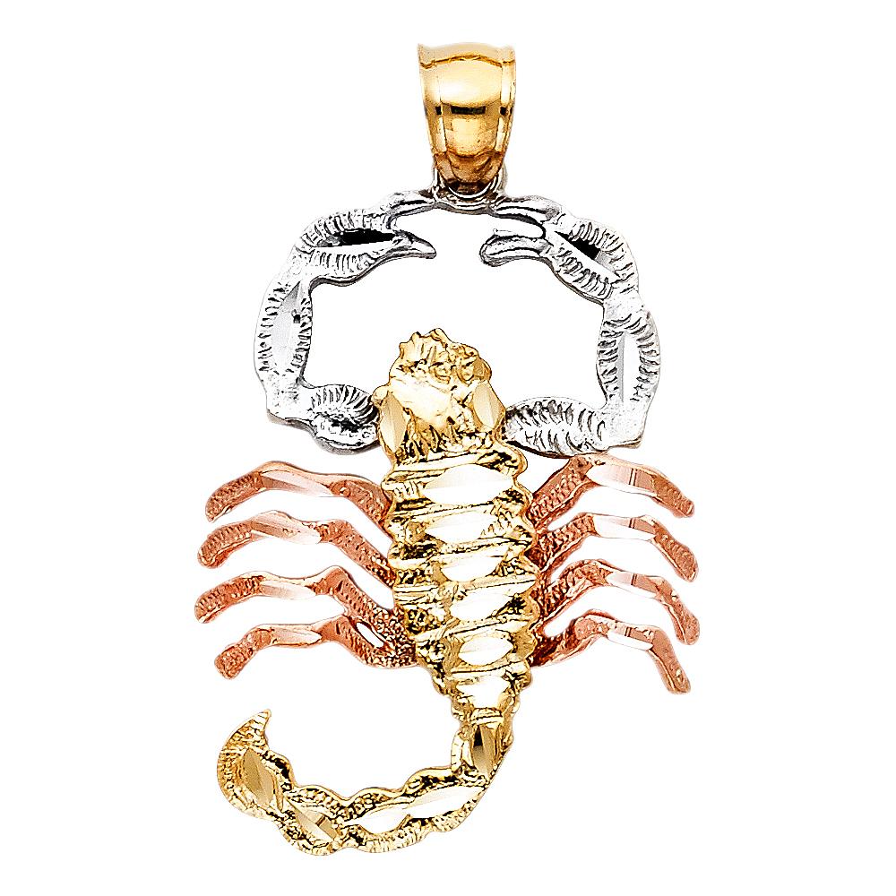 Paradise 14K Solid Tri-color Gold Scorpion Pendant