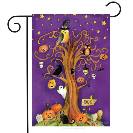 Halloween Tree Garden Flag Spooky Ghosts Pumpkins Owl 12.5