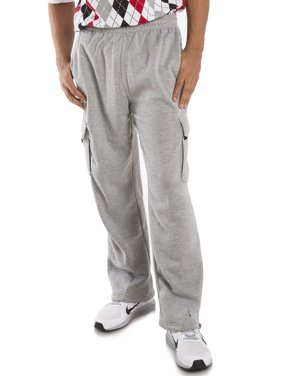 Vibes Men's Fleece Cargo Pants Relax Fit Open Bottom Drawstring