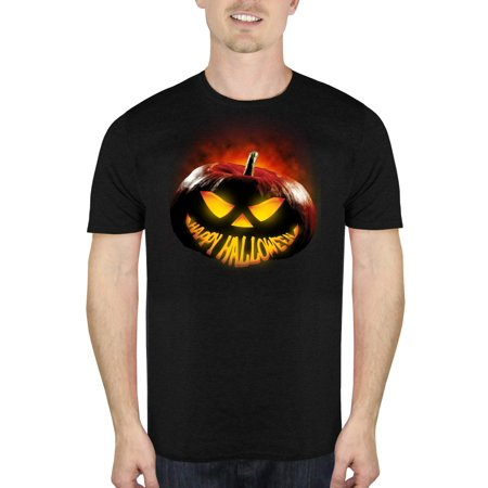 Glowing Pumpkin Smile Men's Halloween Humor Graphic T-Shirt, up to Size 5XL - Pin Up Clothing Halloween