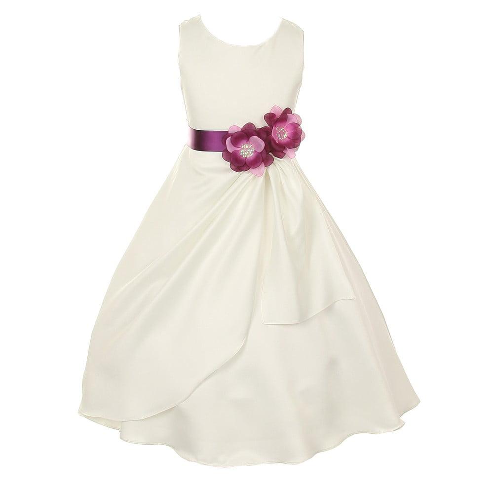 Little Girls Ivory Plum Bridal Dull Satin Sequin Flowers ...