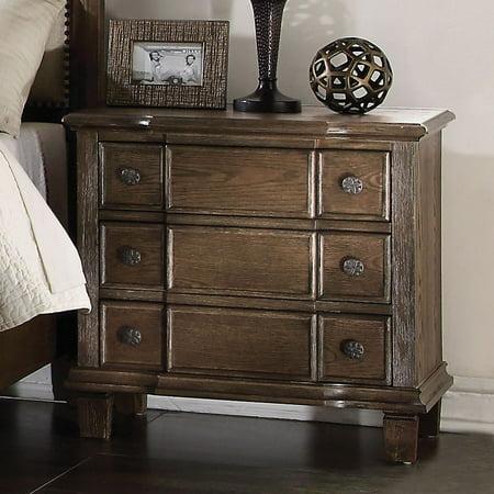 HomeRoots Furniture Nightstand , Weathered Oak - Acacia Wood, Oak Veneer, Weathered Oak