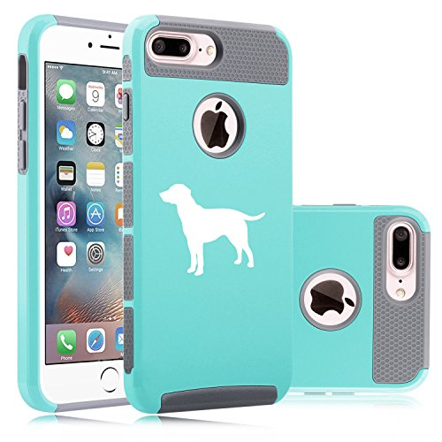 For Apple iPhone (7 Plus) Shockproof Impact Hard Soft Case Cover Lab Labrador Retriever (Teal-Gray)