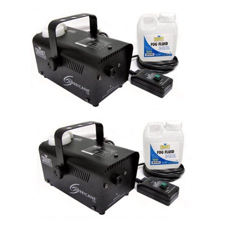 Chauvet DJ Halloween Fog Smoke Machines with Fog Fluid and Wired Remote (2 Pack) - Smoke Mechine