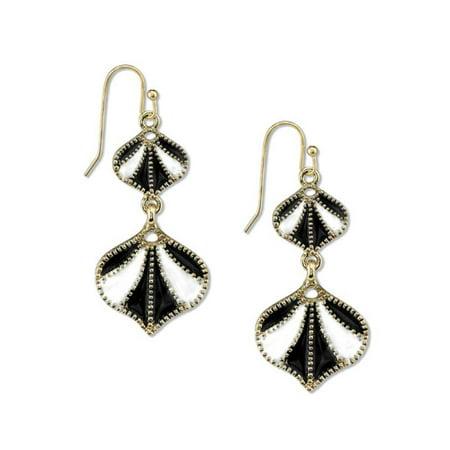 1928 Jewelry Womens Gold-Tone Black/White Enamel Vintage Costume Drop Earrings