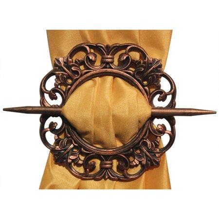 Set of 2 curtain holdbacks antique bronze for Decorative holdbacks