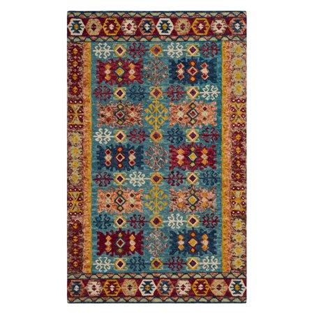 safavieh aspen blue and red aztec area rug. Black Bedroom Furniture Sets. Home Design Ideas