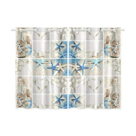 CADecor Beach Theme Window Kitchen Curtain, Summer Seashells Starfish Window Treatment Panel Curtains,26x39 inches,Set of 2 - Summer Theme