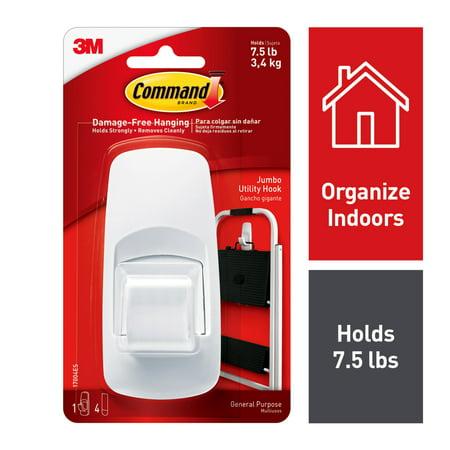 Command Jumbo Hook, White, 1 Hook, 2 Strips (Holds 7.5 lb)