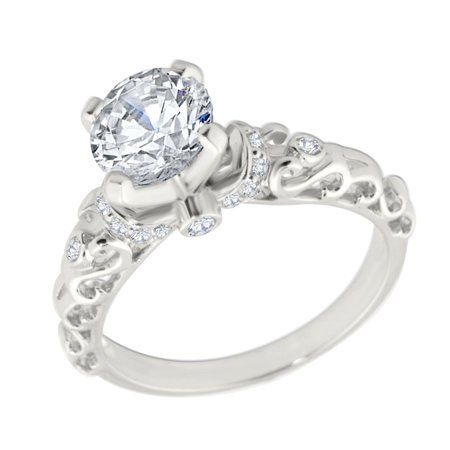 14K White Gold Engagement Ring Semi Mount Setting Fits Upto 1ct Solitaire 0.18ctw Size 5