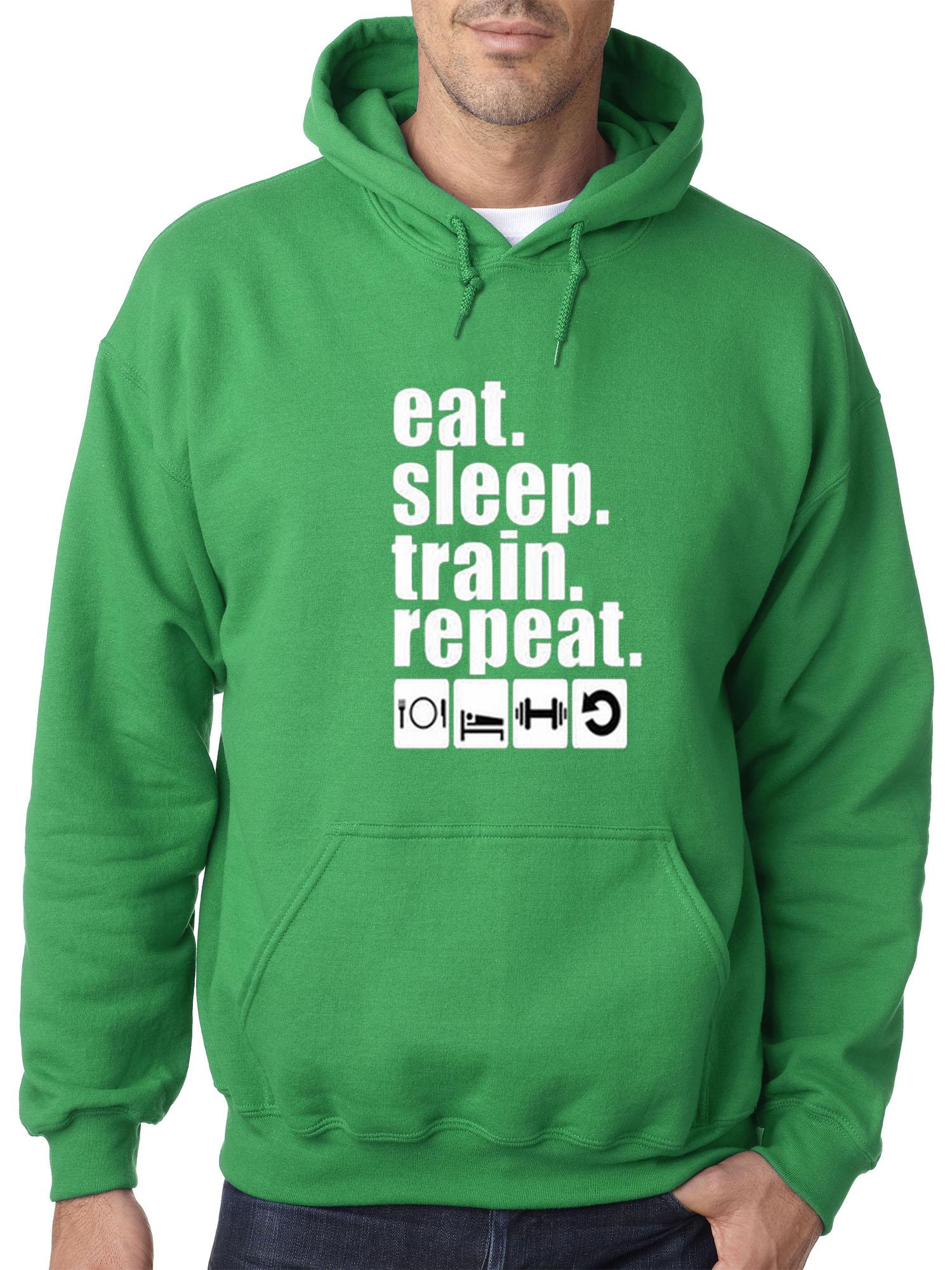 Repeat Gym Top Pullover Jumper Wellcoda Eat Sleep Train Mens Sweatshirt
