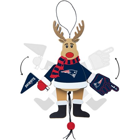 Topperscot by Boelter Brands NFL Wooden Cheering Reindeer Ornament, New England Patriots