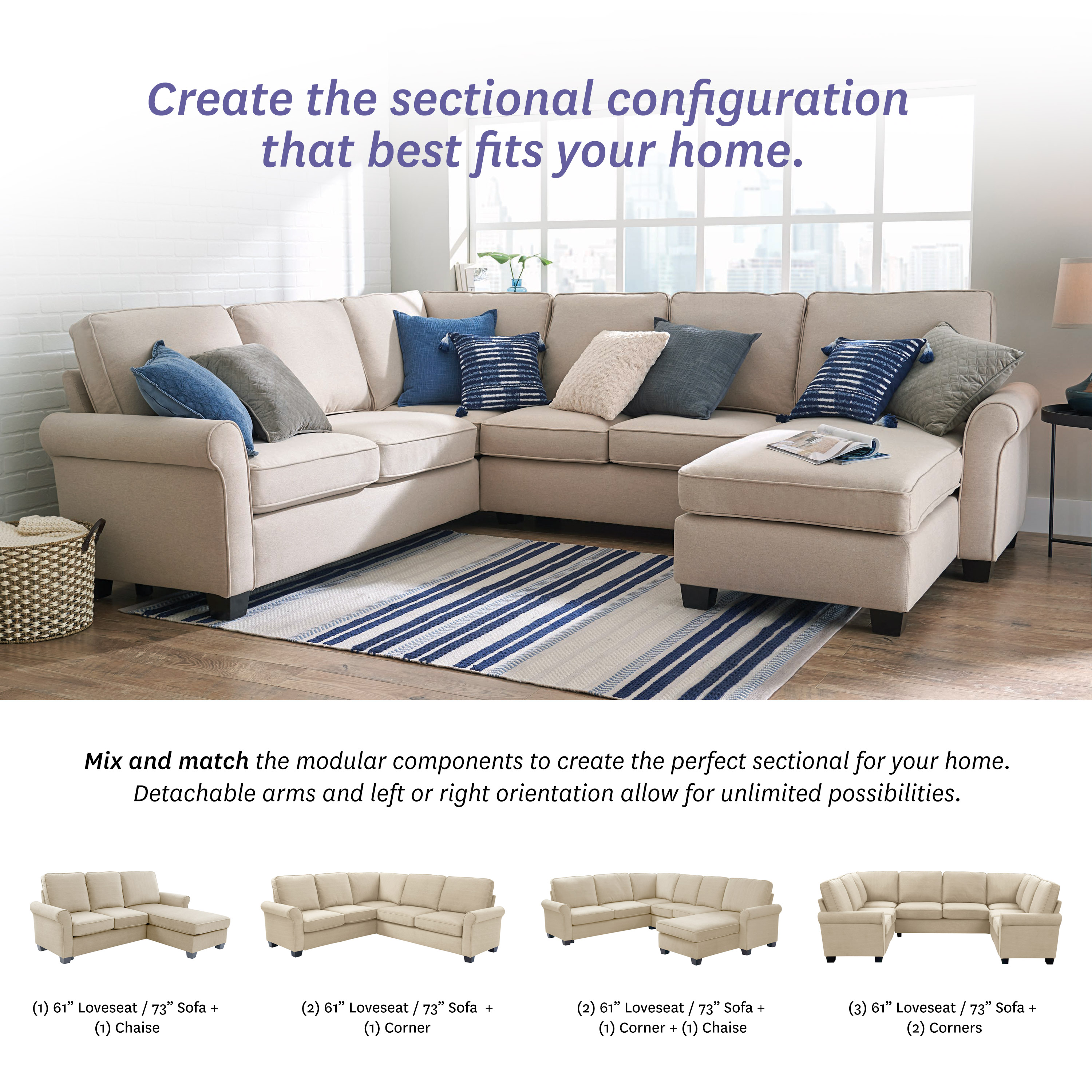 Better Homes Gardens Gramercy U Configuration Sectional With 61