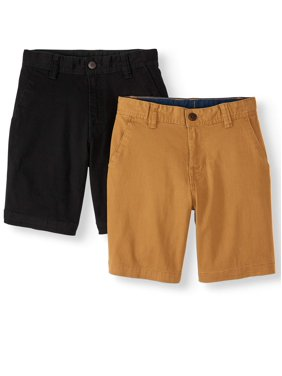 Wonder Nation Boys School Uniform Flat Front Shorts 2-pack (Little Boys, Big Boys, & Husky)