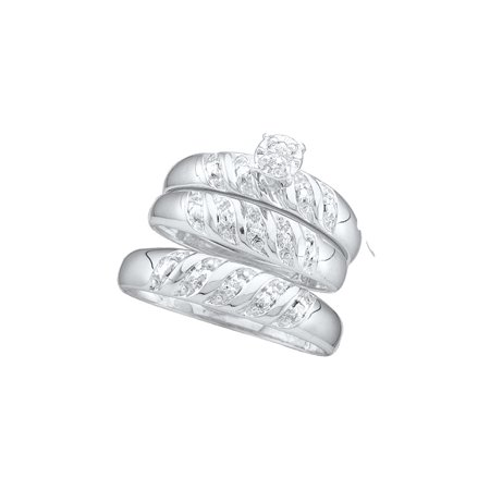 Sizes - L = 7, M = 10 - 10k White Gold Trio His & Hers Round Diamond Solitaire Matching Bridal Wedding Ring Band Set 1/12 Cttw