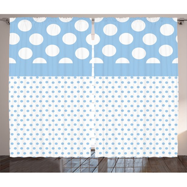 Polka Dots Home Decor Curtains 2 Panels Set, Baby Blue Polka Dots Pattern Modern Nursery Decor Boys Color Vintage Design, Living Room Bedroom Accessories, By Ambesonne