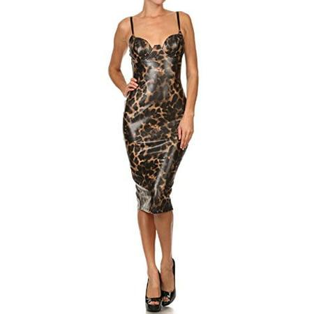 Leopard Print Bustier - 2Chique Boutique Women's Leopard Print Body Con Dress with Bustier Bodice (small)