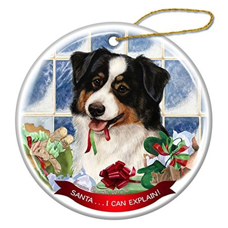 australian shepherd black tri-color dog porcelain hanging ornament pet gift 'santa.. i can explain!' for christmas tree and year round ()